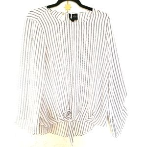 New direction front tie blouse striped